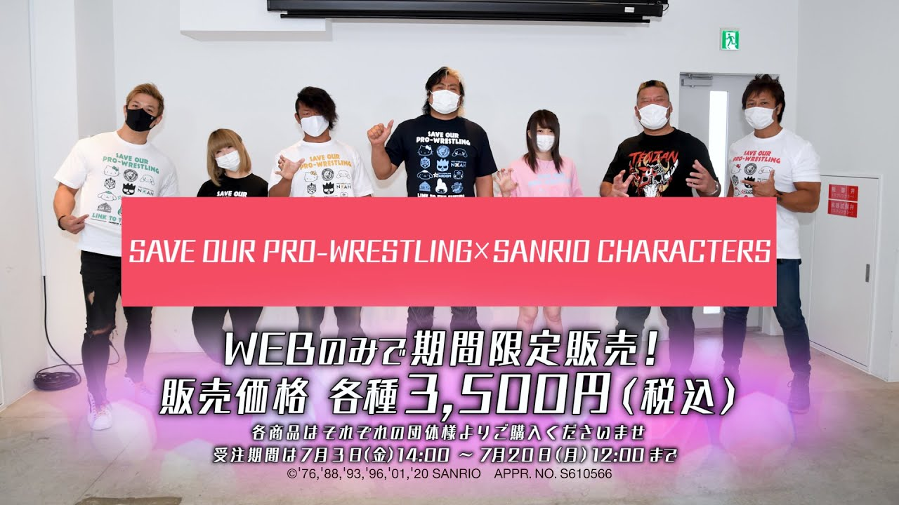 「SAVE OUR PRO-WRESTLING×SANRIO CHARACTERS TEE」発売記念記者会見
