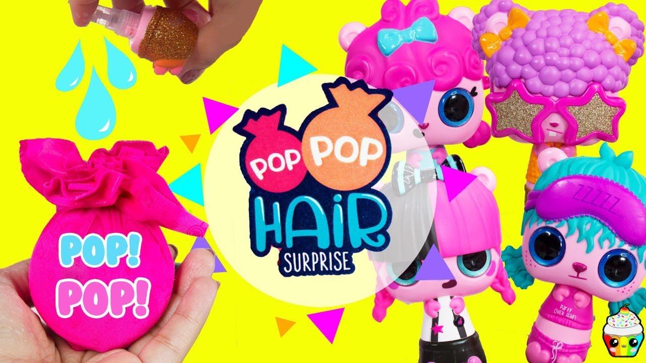 NEW POP POP Hair Surprise 3-In-1 Surprise Hair Pet Pencil Toppers Brush Set