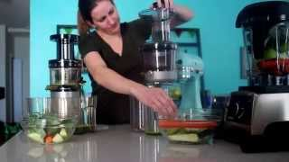 Hurom Slow Juicer vs. KitchenAid Juicer and Sauce Attachment vs. Vitamix