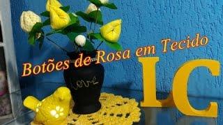 Decoração com Flores em Tecido- Botões de Rosa e Vasinho Lousa