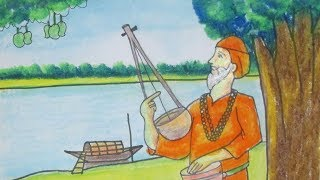How to draw folk singer | Riverside village scenery with Baul Shilpi|