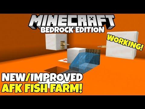 Minecraft Bedrock: WORKING AFK Fish Farm! With Auto Clicker! All Bedrock Platforms!