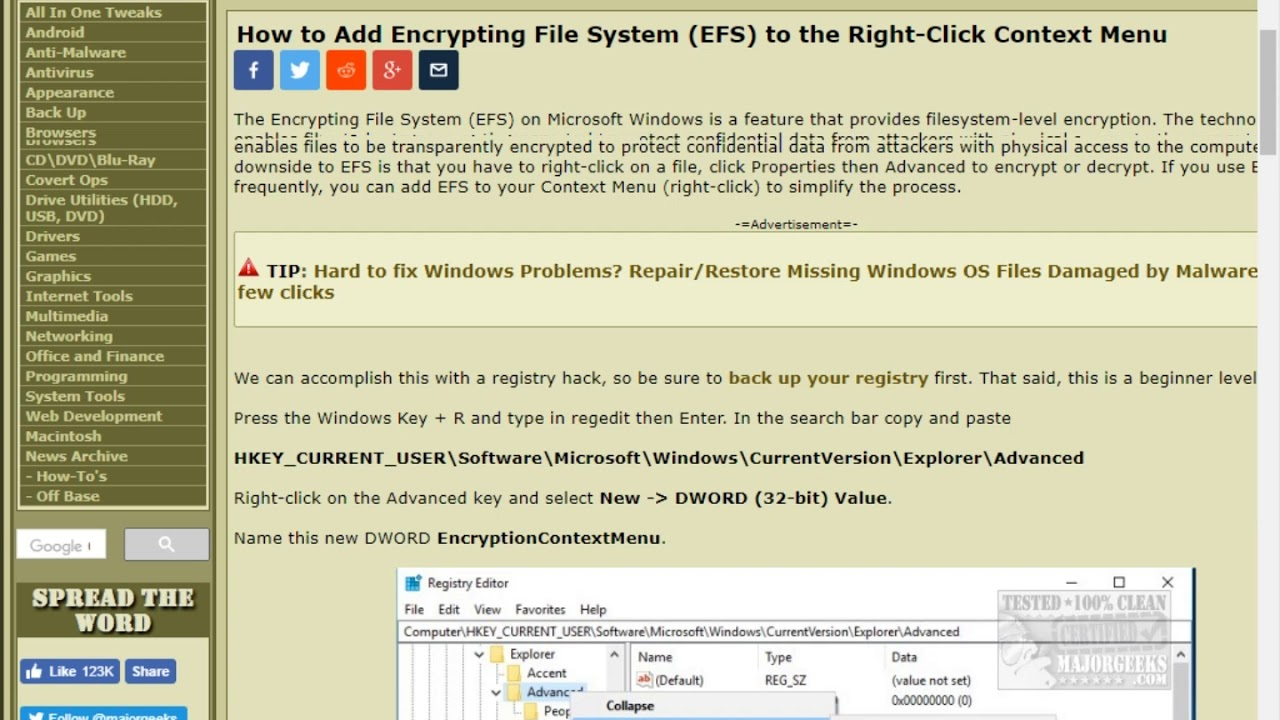 How to Add Encrypting File System EFS to the Right Click Context Menu