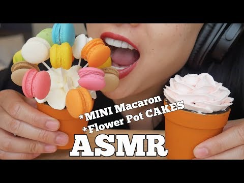 ASMR Mini MACARON + Flower Pot Cake (EATING SOUNDS) NO TALKING   SAS-ASMR