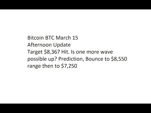 Bitcoin BTC March 15 Afternoon Update - Target $8,367 Hit. Is one more wave possible up?