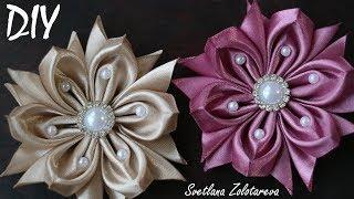 Цветы Канзаши из атласной ленты 5 см DIY Hair Flowers Kanzashi