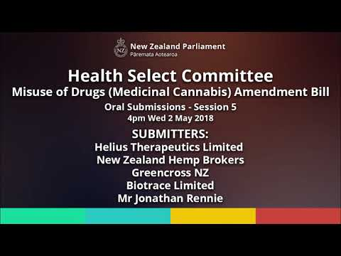 Misuse of Drugs (Medicinal Cannabis) Amendment Bill: Oral Submissions Session 5 (AUDIO ONLY)