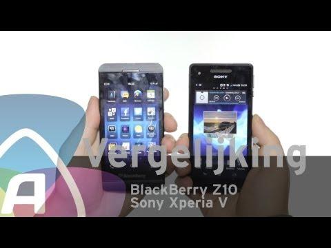 BlackBerry Z10 vs Sony Xperia V review (Dutch)
