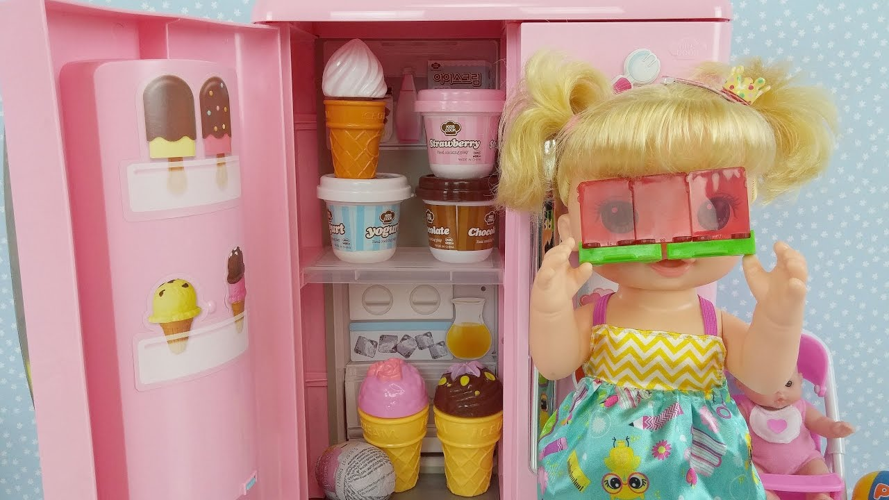 Baby Doll Refrigerator toys Baby Alive Toy Velcro Fruits and ...