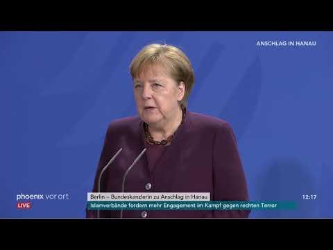 Kanzlerin Angela Merkel zum Anschlag in Hanau am 20.02.20