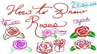 How to Draw Roses (Clipart, Disney, and Semi-Realistic)