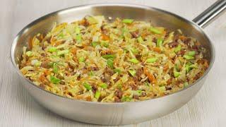 Восхитительная жареная капуста с фаршем в азиатском стиле за 25 минут. Рецепт от Всегда Вкусно!