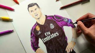 Cristiano Ronaldo Pen Drawing - Real Madrid