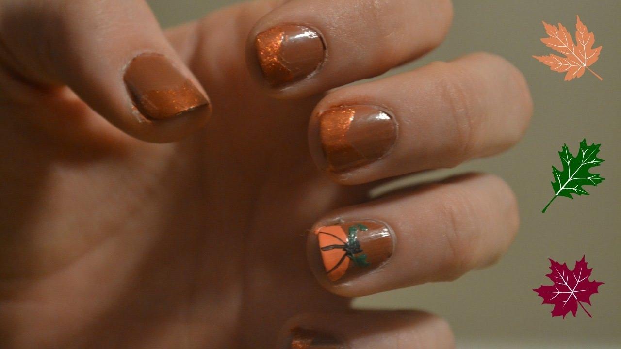 Fall Nails Easy Pumpkin Nail Art Youtube