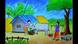 How to draw scenery of Feeding the Cow, Village Farmer