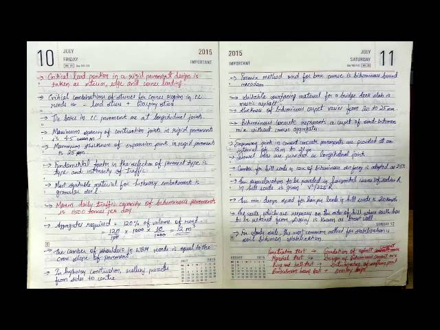 Civil Engineering Competitive Exam Notes (Hand Made/ Written) complete Shortcut