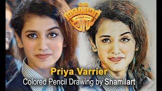 Oru adaar love Freak Penne    Priya P Varrier    Colored Pencil Drawing by Shamilart