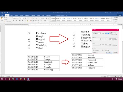 How to Sort Number and Date in MS Word (Ascending/Descending)