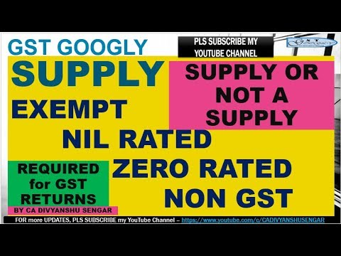 GST EXEMPT NIL RATED ZERO RATED NON GST SUPPLY With EXAMPLES & NOTIFICATIONS | CA DIVYANSHU SENGAR *