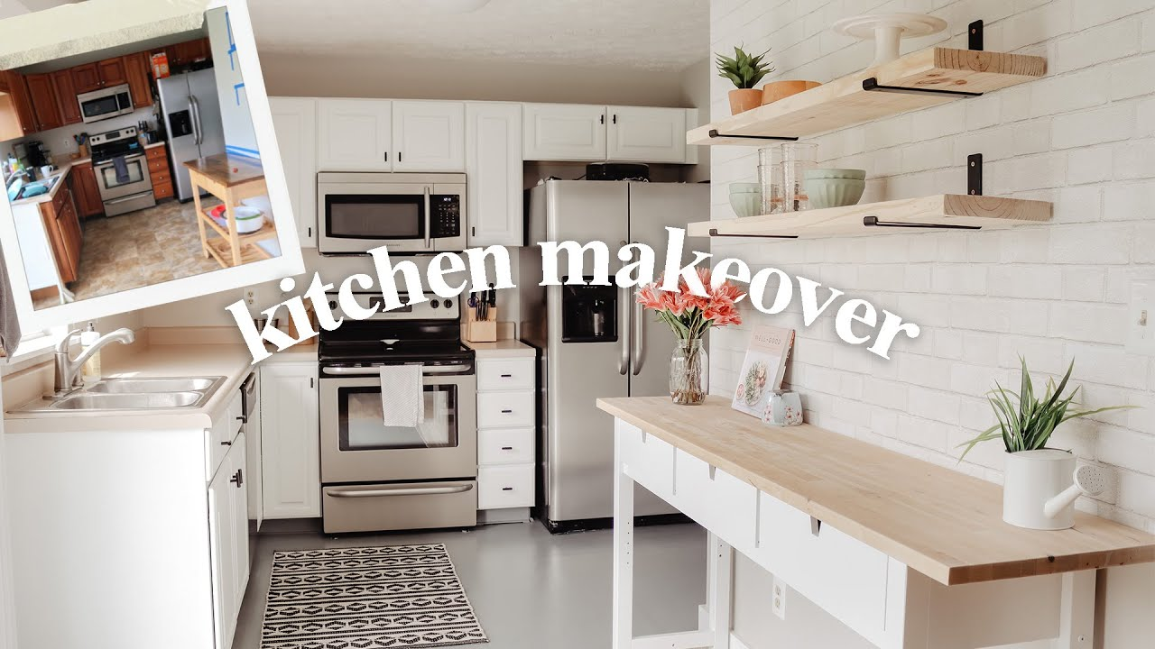 DIY SMALL KITCHEN MAKEOVER Cabinet Painting, Floor Painting, On A Budget