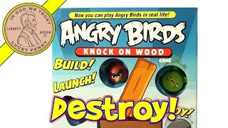 Angry Birds Knock On Wood Card Game By Mattel - Build Launch Destroy W/ Slingshot Launcher
