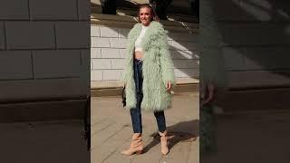 Модная Женская шуба из ламы мятного цвета XS S M L