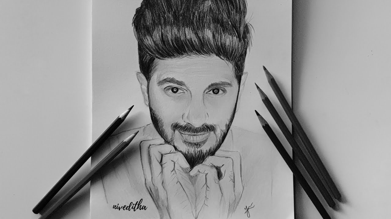 Dulquer Salman (DQ) speed drawing/ Pencil Drawing ...