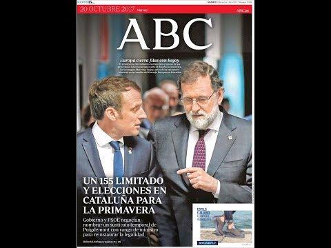 #Noticias Viernes 20 Octubre 2017 Titulares Portadas Diarios Periódicos España Spain #News