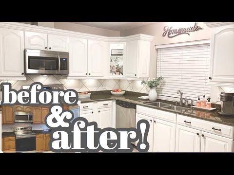 KITCHEN CABINET MAKEOVER! | Paint Your Kitchen Cabinets White | Rustoleum Cabinet Transformations