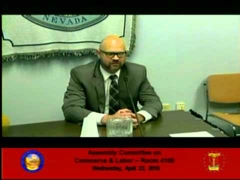 Jared Hague speaks at the Nevada Assembly Committee on Commerce & Labor