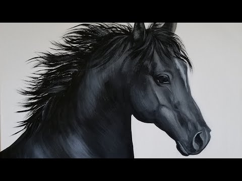 Black Horse Acrylic Painting LIVE Tutorial
