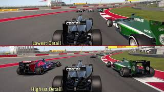 Split Screen Compare  F1 2014 PC  Lowest vs Highest Graphics Detail Setting