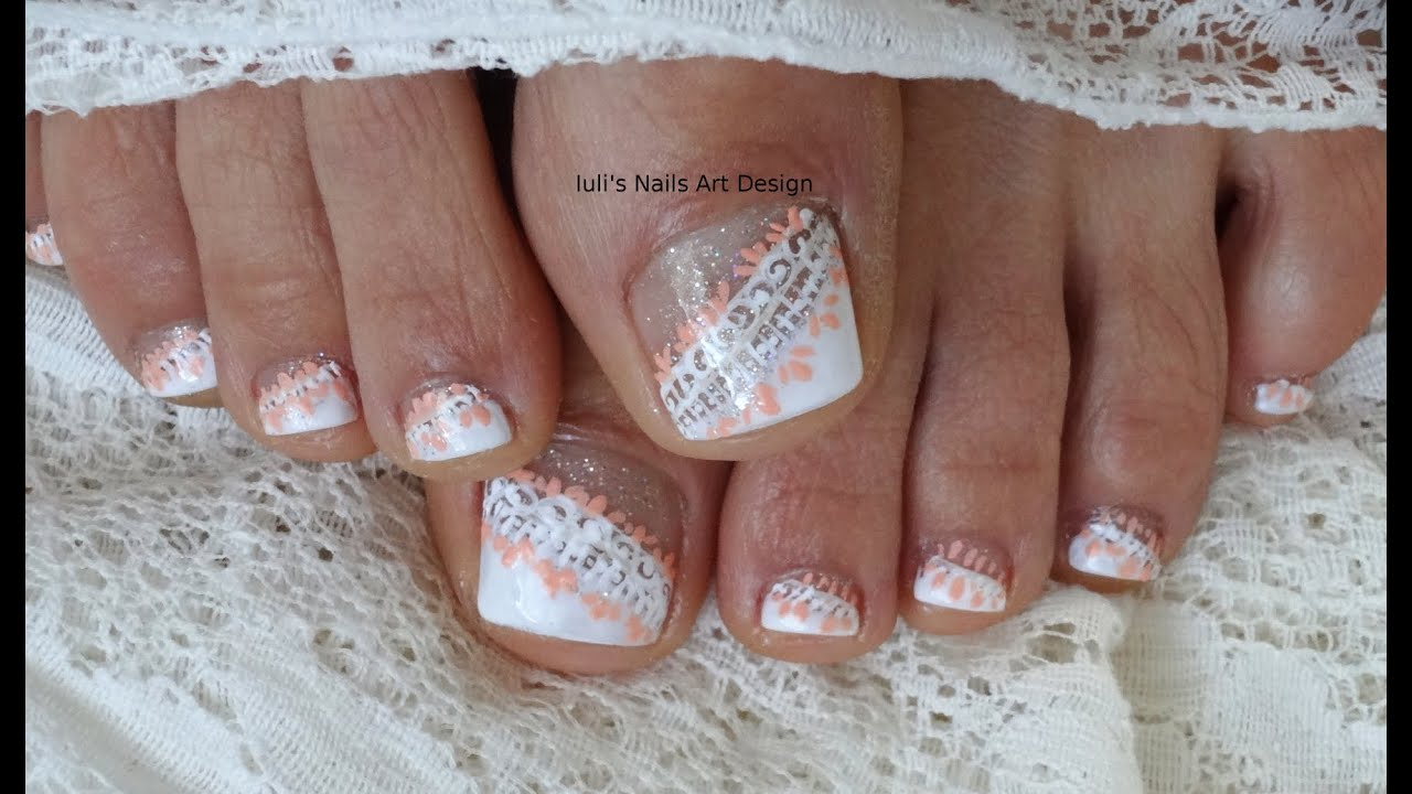 Wedding Toes art Design Tutorial White on White Side French Lace ...