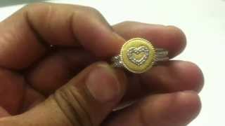 Designer Diamond Ring Sterling Silver and 18KT Gold Plated SR34