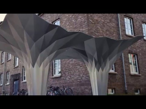 Tal Friedman Origami pavilion fabrication and assembly