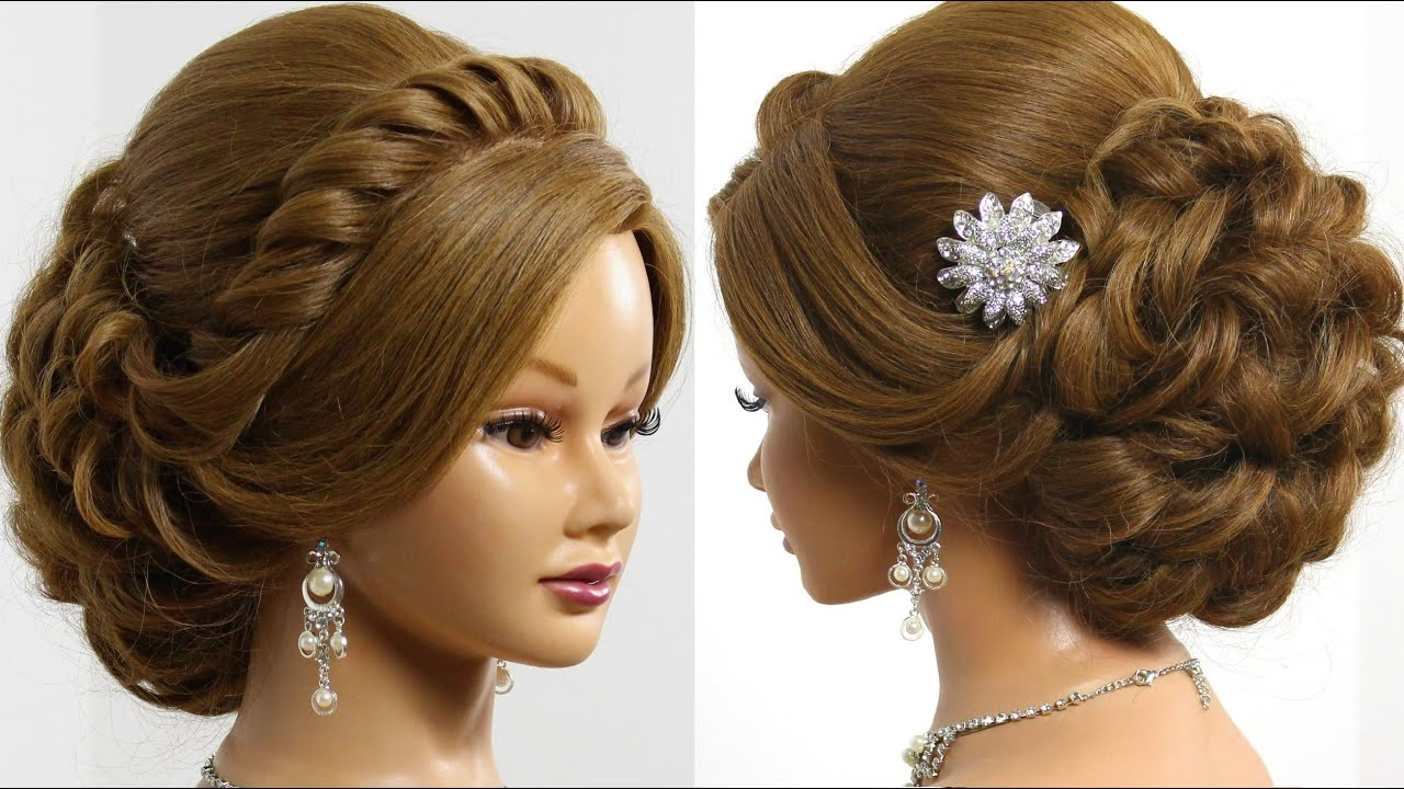 bridal hairstyle for long medium hair tutorial. romantic updo