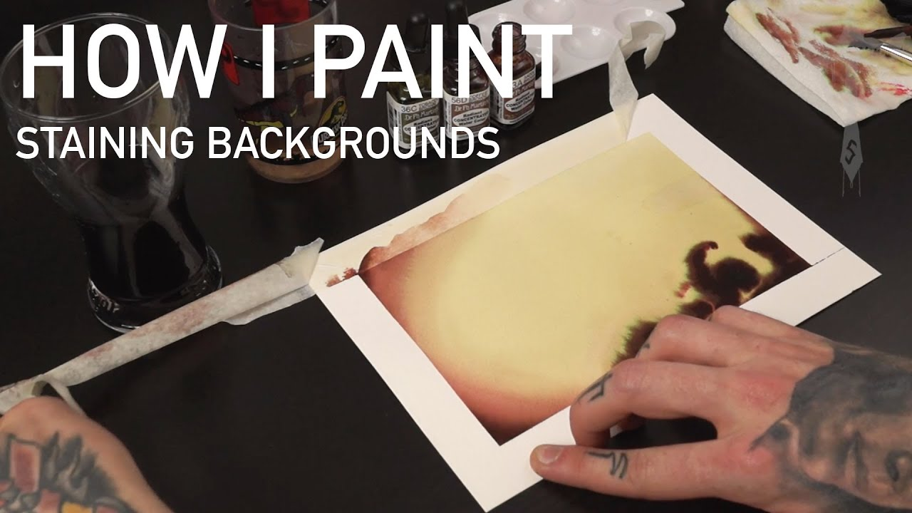 How To Stain Paint Backgrounds Tattoo Flash Watercolour Illustration I Tutorial