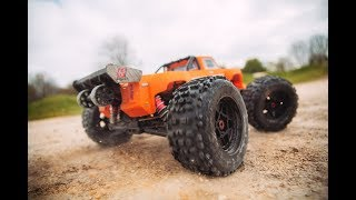 ARRMA 2018 1/8 OUTCAST 6S Stunt Truck 4WD RTR Orange Video