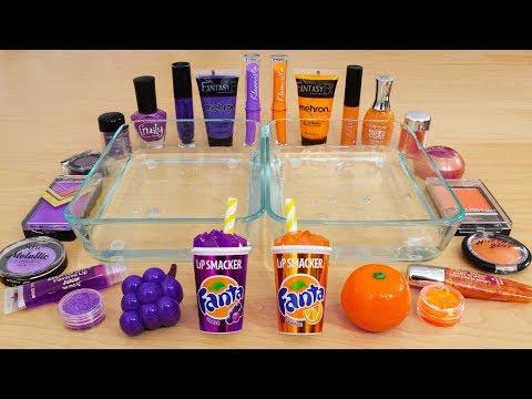 Grape Vs Orange - Mixing Makeup Eyeshadow Into Slime Special Series 136 Satisfying Slime Video