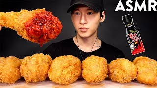 ASMR FRIED CHICKEN with SPICY FIRE SAUCE MUKBANG (No Talking) EATING SOUNDS | Zach Choi ASMR
