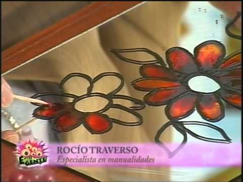 Pintura vitral sobre espejo con rocio traverso youtube for Pared con espejos redondos