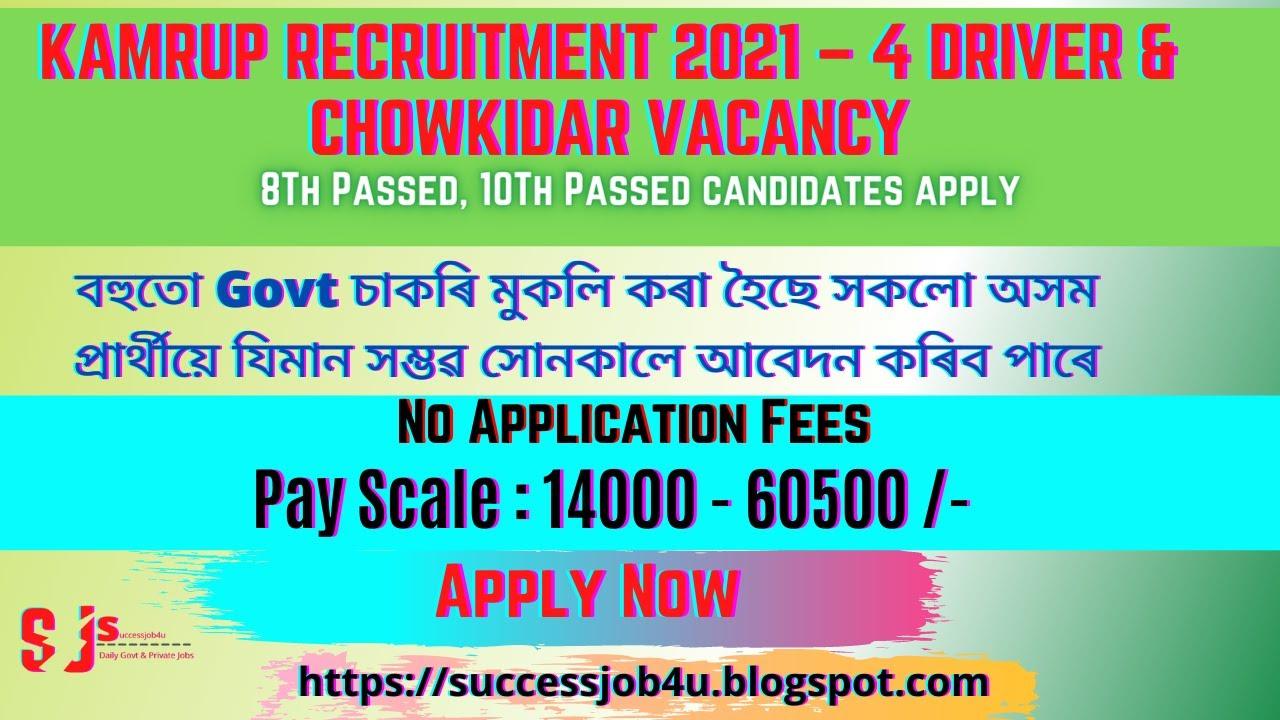 Download DC Kamrup Recruitment 2021 –4 Driver & Chowkidar Vacancy //Assam Govt Job 2021//Assam Job News Today