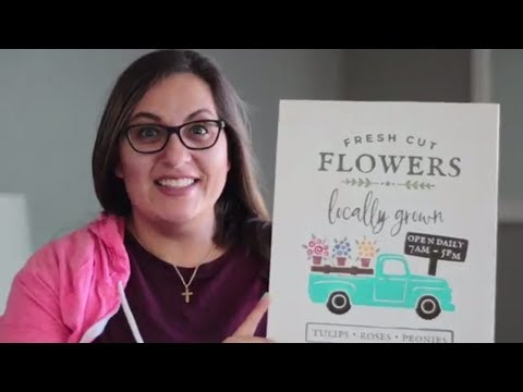Spring Flowers Truck Wood Sign - SVG for Silhouette Cameo and Cricut