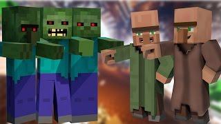 Minecraft : Çılgın Zombiler Köylüleri Çoşturuyor !