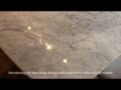 Jengo Natural White Marble Dining Table from OM Furniture