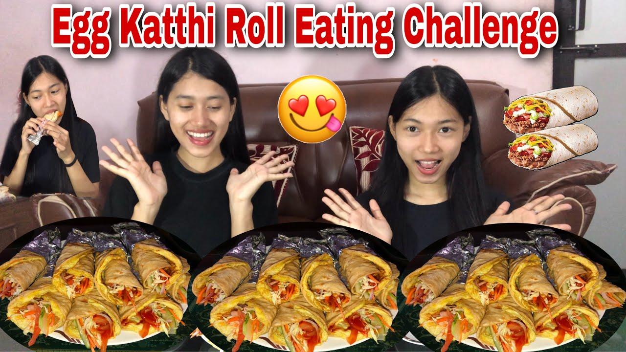 EGG KATTHI ROLL EATING CHALLENGE😋😋|| HOMEMADE **Punishment🤣🤣|| Its me Aarati