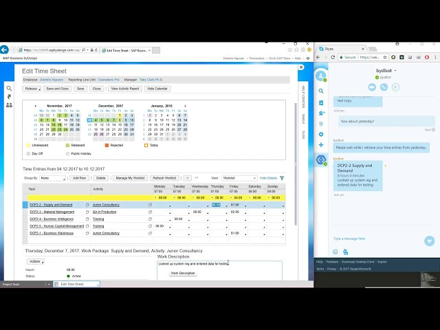 SAP ChatBot Timesheet Demo - Acclimation