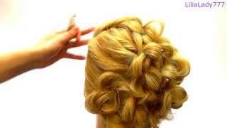 Вечерняя прическа на длинные волосы.с плетением.