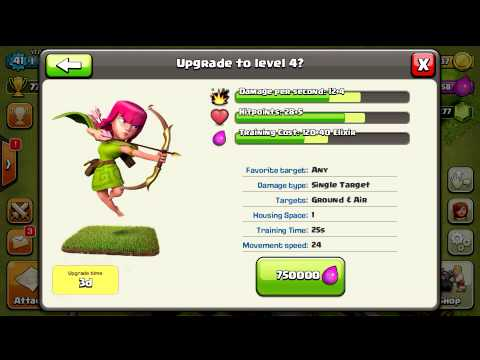 Clash Of Clans Upgrading Level 4 Archer!
