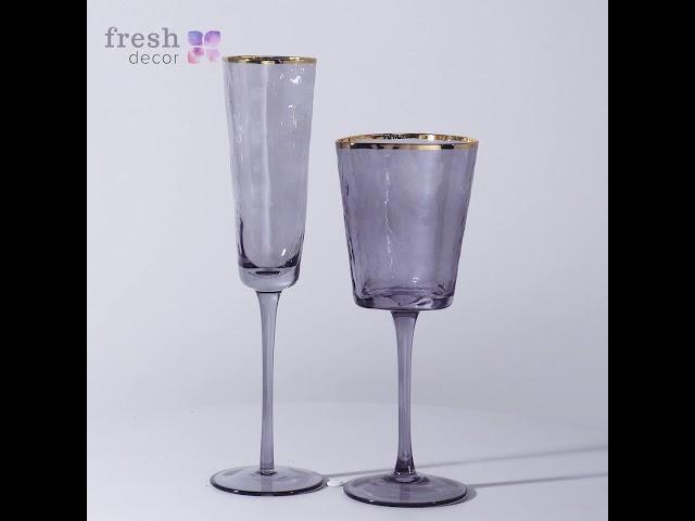 Дизайнерские бокалы для вина и шампанского с эффектом льда с золотым кантом Продажав Украине
